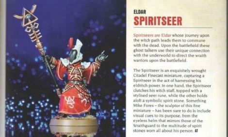 A spiritseer. GW are going with the faceless vizor look they gave to some dark eldar models, which is a nice point to show the two species are linked, no matter how much they wish they weren't.