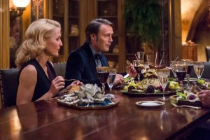 "HANNIBAL -- ""Secondo"" Episode 303 -- Pictured: (l-r) Gillian Anderson as Bedelia Du Maurier, Mads Mikkelsen as Hannibal Lecter -- (Photo by: Brooke Palmer/NBC)"