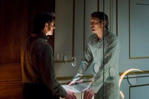 "HANNIBAL -- ""...and the Woman Clothed in the Sun"" Episode 310 -- Pictured: (l-r) Hugh Dancy as Will Graham, Mads Mikkelsen as Hannibal Lecter -- (Photo by: Brooke Palmer/NBC)"