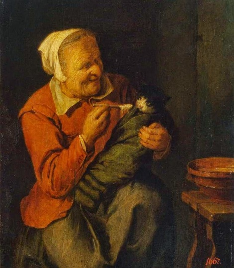 1642-David_Rijckaert_(III)_-_Peasant_Woman_with_a_Cat